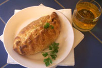 Cornish Pasty with a glass of cider
