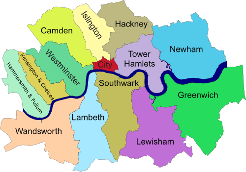 Central London Boroughs Map London Map - London map of boroughs